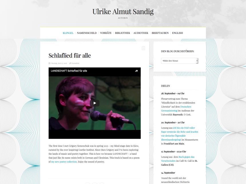 Webseite für die Schriftstellerin Ulrike Almut Sandig