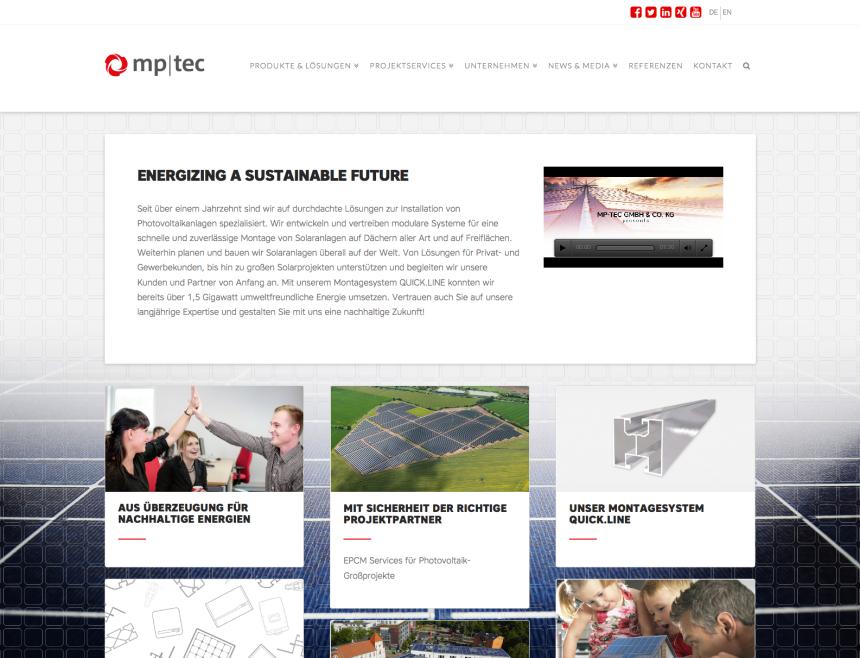Webseite für Solaranbieter mp-tec