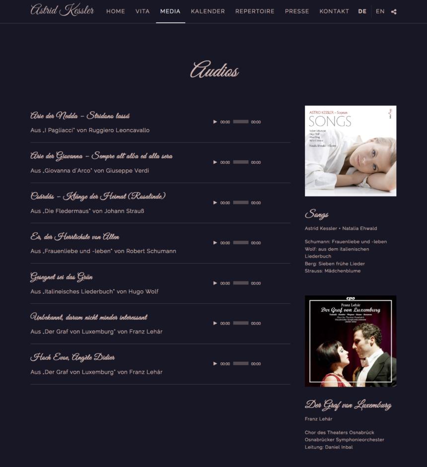 Artist Website für die Sopranistin Astrid Kessler
