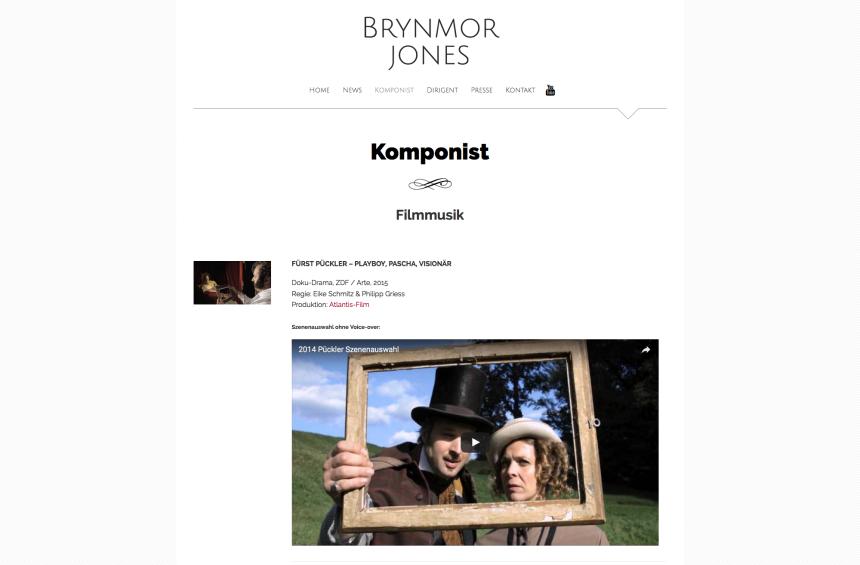 Webseite für Komponist & Dirigent Brynmor Jones