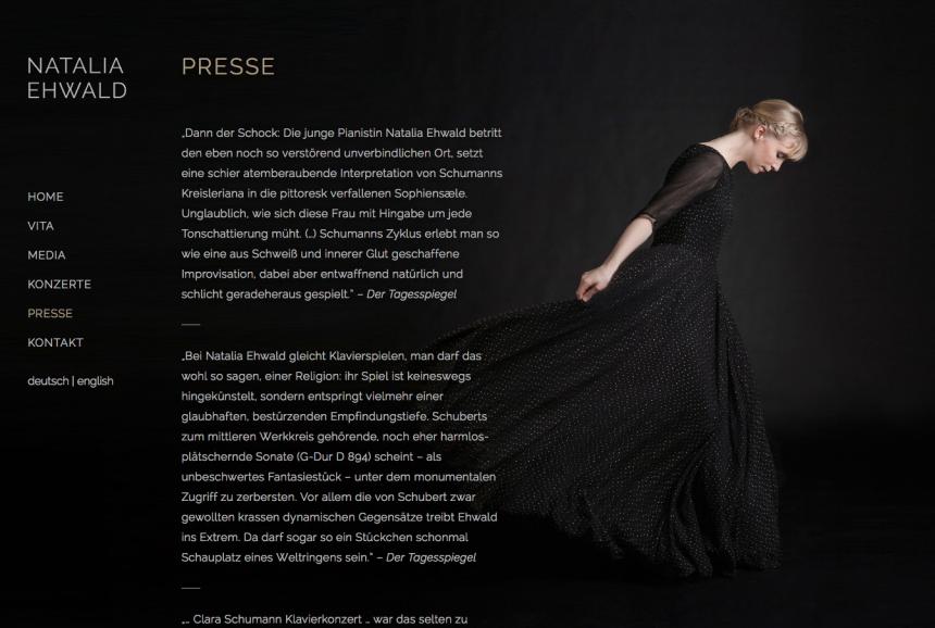 Artist Website für die Pianistin Natalia Ehwald